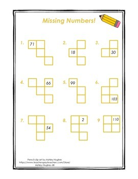 Hundreds Chart Pieces-- Missing Numbers Sample