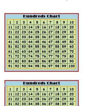 Hundreds Chart Printable Any Grade