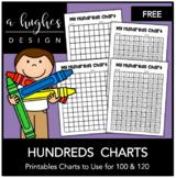 FREE Hundreds Chart Printables: 100 and 120 [Ashley Hughes Design]