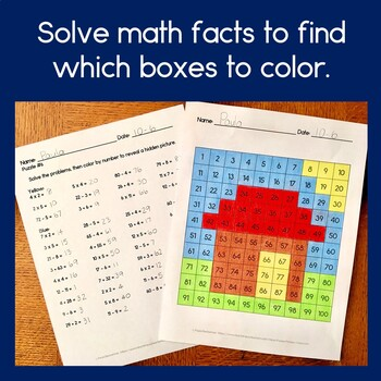 Hundreds Chart Mystery Pictures with Addition, Subtraction & Multiplication
