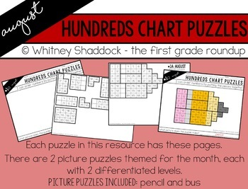 Hundreds Chart Puzzles for August
