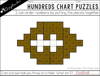 Hundreds Chart Puzzles for September