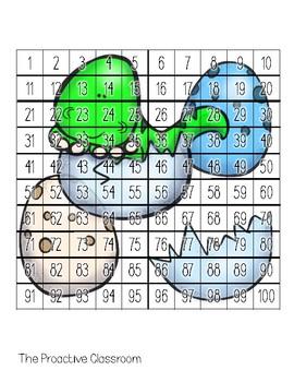 Hundreds Chart Puzzles Dinosaur- Number Sense Activities on 100s Chart!