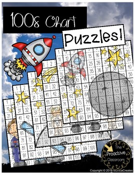 Hundreds Chart Puzzles Space / Mystery Number Sense Activities on 100s Chart!