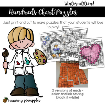 Hundreds Chart Puzzles - Winter Edition!