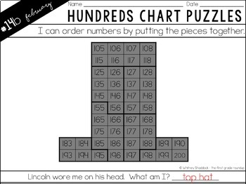 Hundreds Chart Puzzles for February