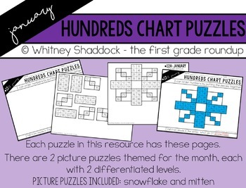 Hundreds Chart Puzzles for January