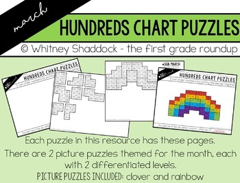 Hundreds Chart Puzzles for March