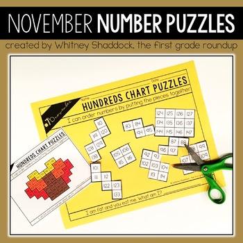 Hundreds Chart Puzzles for November
