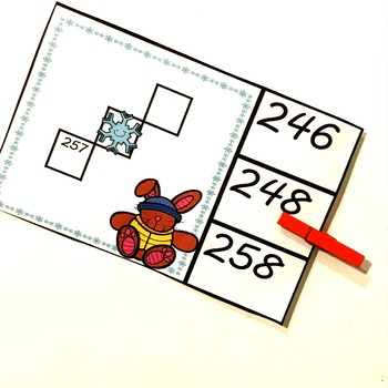 Hundreds Chart Puzzles on Clip Cards (Winter Themed)