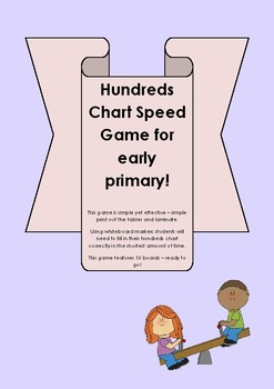 Hundreds Chart Speed Game for lower primary