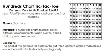 Hundreds Chart TicTacToe Game Directions 2.NBT.1