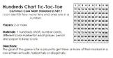 Hundreds Chart TicTacToe Game Directions 2.NBT.1