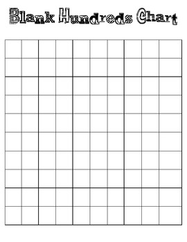 Lucrative image inside blank hundreds chart printable
