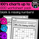 Hundreds Chart to 1000 Missing Numbers