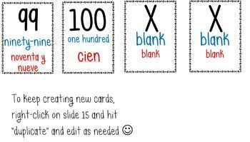 Hundreds Chart w/ Bilingual Word Form