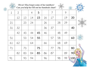 Hundreds Chart with Elsa!