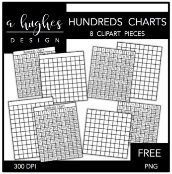 FREE Hundreds Charts Clipart {A Hughes Design}