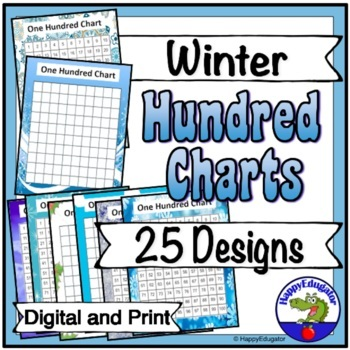 Hundreds Charts - Winter Theme - 25 Different Designs