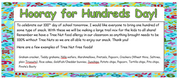 Hundreds Day Snack Letter Home (editable, Tree Nut Free)