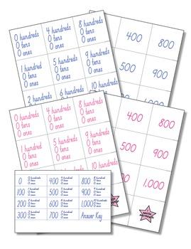 Hundreds Equal Hundreds, Tens, and Ones Memory Game