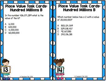 Hundreds Millions Place Task Cards