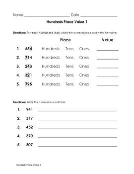 Hundreds Place Value Worksheet Set and Data Sheets