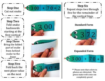 Place Value and Expanded Form Snakes: Hundreds Place