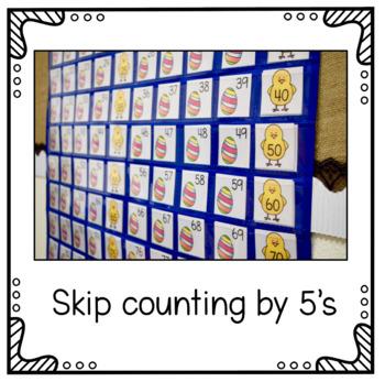 Hundreds Pocket Chart Cards - Easter Theme