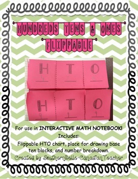 Hundreds, Tens, & Ones Flippable (for use in INTERACTIVE MATH NOTEBOOK!)