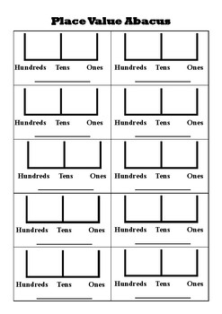 Hundreds, Tens and Ones Abacus Worksheet