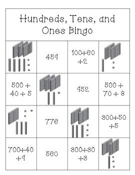 Hundreds, Tens, and Ones Bingo Cards