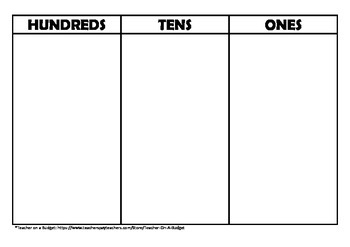 Hundreds, Tens and Ones Interactive Place Value Chart