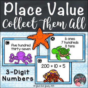 Hundreds Tens and Ones Ocean Numbers Place Value Task Card Activity