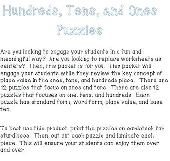 Hundreds, Tens, and Ones Puzzle