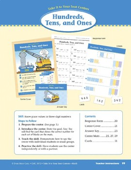 Hundreds, Tens, and Ones (Take It to Your Seat Centers Common Core Math)