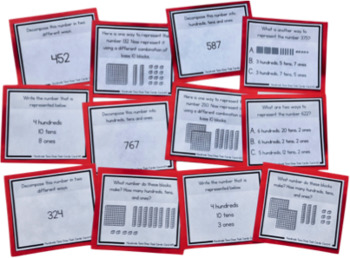 Hundreds, Tens, and Ones to 1000 - Place Value Task Cards for Second Grade