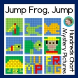 Hundreds chart mystery pictures inspired by Jump, Frog, Jump
