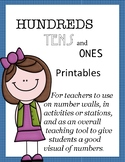 Hundreds tens and ones printables