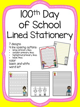 Hundredth (100th) Day Writing Paper