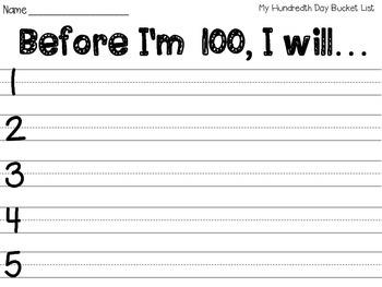 Hundredth Day Bucket List