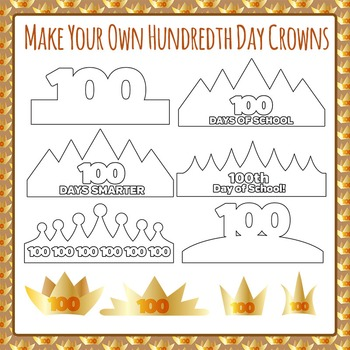 Hundredth Day of School Crowns - Make Your Own - Clip Art for Commercial Use