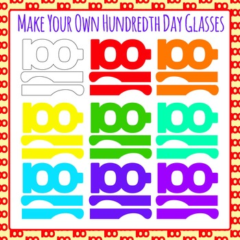 Hundredth Day of School Glasses / Spectacles Clip Art for Commercial Use