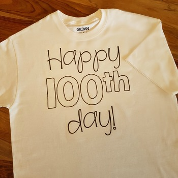 Hundredth Day of School Shirt Iron-on Template: perfect for the 100th day!