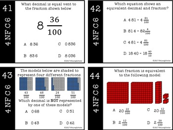 Hundredths - Relate Decimals to Fractions and Vise Versa Test Prep Task Cards