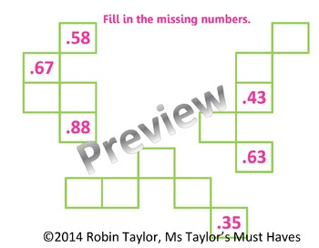 Hundredths Puzzles (Decimal Practice) 4.2B