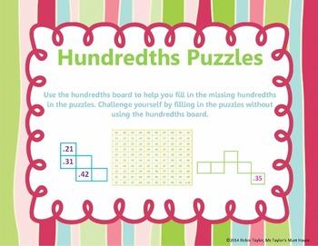 Hundredths Puzzles (Decimal Practice)