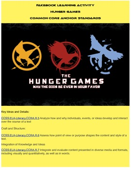 Hunger Game Fakebook Main Characters Package