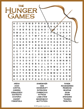 Hunger Games Word Search Puzzle
