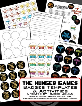 """""""Hunger Games"""" Badges/Buttons Activity and Templates"""